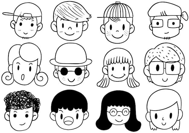 Hand gezeichnete niedliche lustige avatare karikatur, satz gesichter
