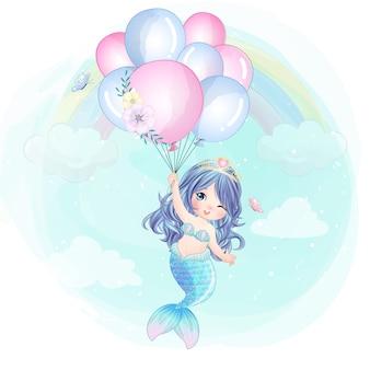 Hand gezeichnete niedliche meerjungfrau, die mit ballon fliegt