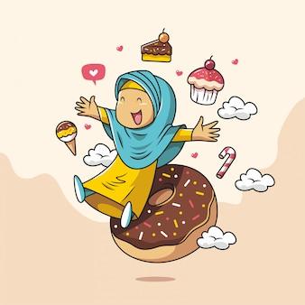 Hand gezeichnete niedliche muslimische mädchenkarikatur mit hijab und kuchen