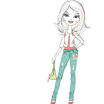 Hand gezeichnete niedliche schöne mädchen in jeans und eine weiße jacke mit einem blumenmuster