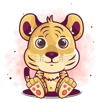 Hand gezeichnete niedliche tigerkarikatur sitzende illustration