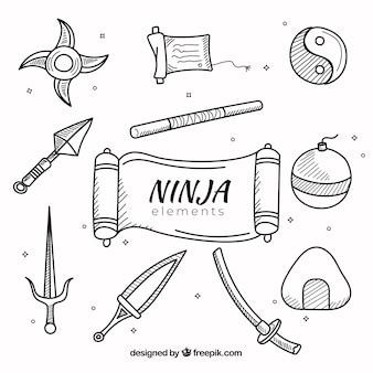Hand gezeichnete ninja elements sammlung