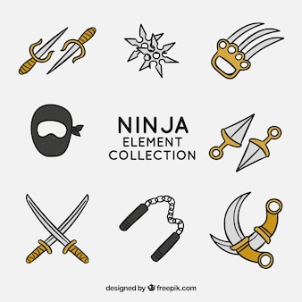 Hand gezeichnete ninja elementsammlung
