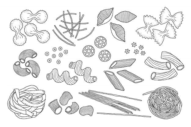 Hand gezeichnete nudeln