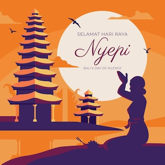 Hand gezeichnete nyepi-illustration