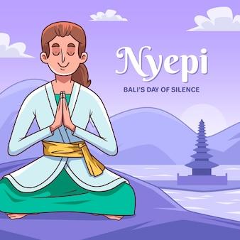 Hand gezeichnete nyepi-illustration