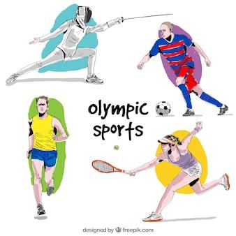 Hand gezeichnete objekte von olympischen sportarten