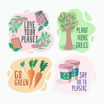 Hand gezeichnete ökologie-abzeichen mit pflanzen