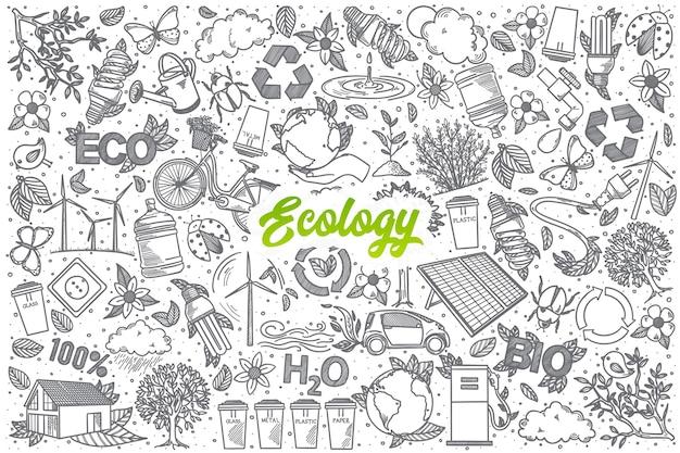 Hand gezeichnete ökologie-gekritzel-sethintergrund mit grüner beschriftung