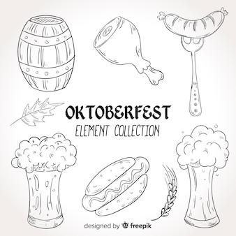Hand gezeichnete oktoberfest elementsammlung