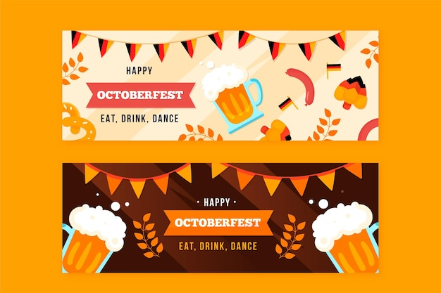 Hand gezeichnete oktoberfest-fahnenpackung