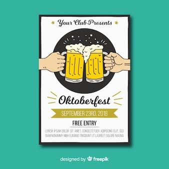 Hand gezeichnete oktoberfest-fliegerschablone