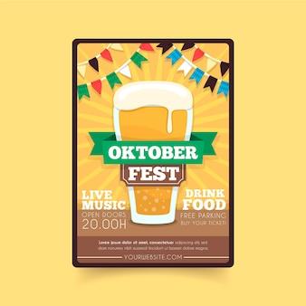 Hand gezeichnete oktoberfest plakatschablone