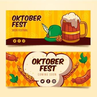 Hand gezeichnete oktoberfestfahnen
