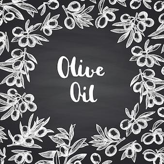 Hand gezeichnete olivenzweige mit kreisraum in der mitte für text auf schwarzer tafel