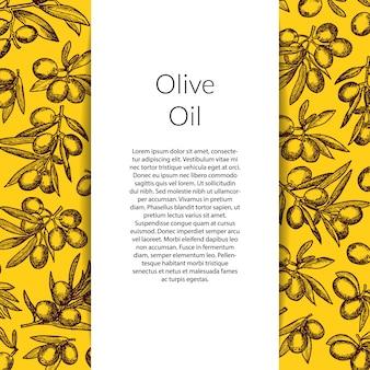 Hand gezeichnete olivenzweige mit vertikalem dekorativem band und platz für text