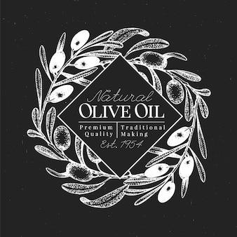 Hand gezeichnete olivgrüne designschablone. vektorolivenabbildungen auf kreidetafel. vintage oliv oli hintergrund