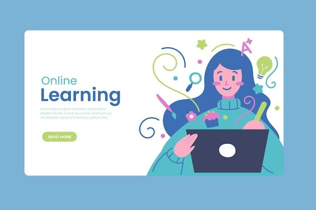 Hand gezeichnete online-lern-landingpage-vorlage