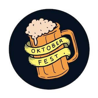 Hand gezeichnete orange bierglasillustration oktober-festes