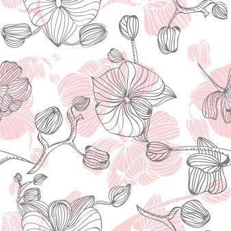Hand gezeichnete orchidee textur hintergrund vorlage