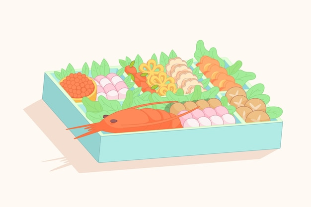 Hand gezeichnete osechi ryori