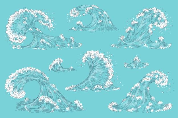 Hand gezeichnete ozeanwelle. wirbel tsunami set