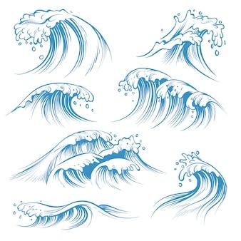 Hand gezeichnete ozeanwellen. skizzieren sie meereswellen flutspritzer. hand gezeichnete surfsturmwindwasser-gekritzel-weinleseelemente