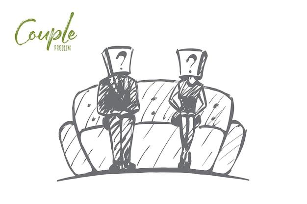 Hand gezeichnete paar problemkonzeptskizze mit mann und frau
