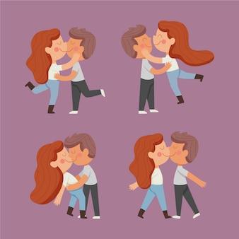 Hand gezeichnete paare, die illustration küssen
