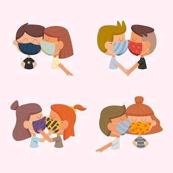Hand gezeichnete paare, die mit covid-maskenillustration küssen