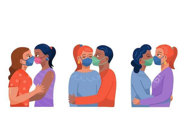 Hand gezeichnete paare, die sammlung küssen