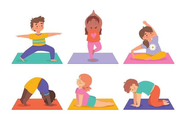 Hand gezeichnete packung von menschen, die yoga tun