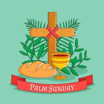 Hand gezeichnete palmensonntagsillustration