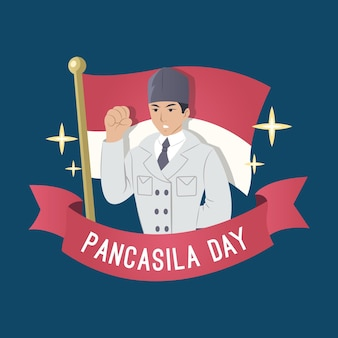 Hand gezeichnete pancasila-tagesillustration