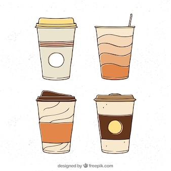 Hand gezeichnete papierkaffeetasse