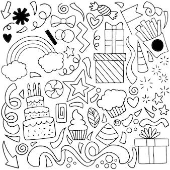 Hand gezeichnete partei doodle alles gute zum geburtstag ornamente hintergrundmuster