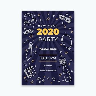 Hand gezeichnete partei-fliegerschablone des neuen jahres 2020