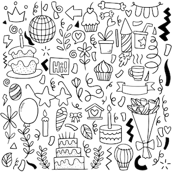 Hand gezeichnete partei gekritzel alles gute zum geburtstag ornamente