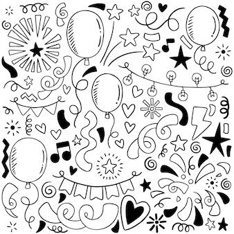 Hand gezeichnete partei kritzeln alles gute zum geburtstag verzierungshintergrund-musterillustration
