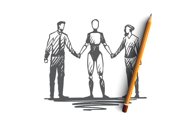 Hand gezeichnete partner halten hände mit roboterkonzeptskizze