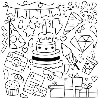 Hand gezeichnete party doodle alles gute zum geburtstag