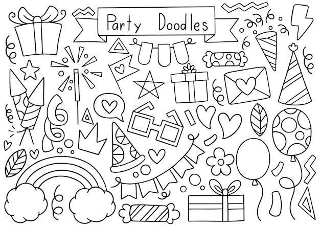 Hand gezeichnete party gekritzel alles gute zum geburtstag ornamente illustration