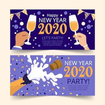 Hand gezeichnete partyfahnen des neuen jahres 2020