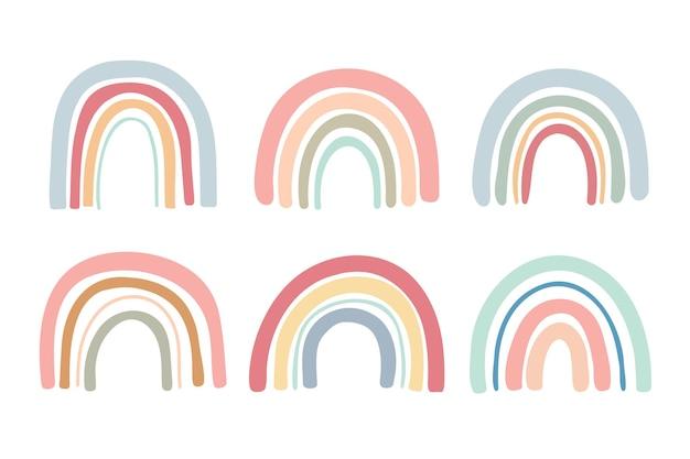 Hand gezeichnete pastellfarbe regenbogenbrücke dekorationsarbeit für kinder.