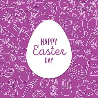 Hand gezeichnete pastellfarbene monochrome osterillustration mit eiern