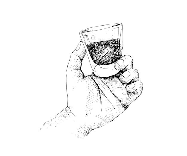 Hand gezeichnete person, die einen schuss des whiskys hält