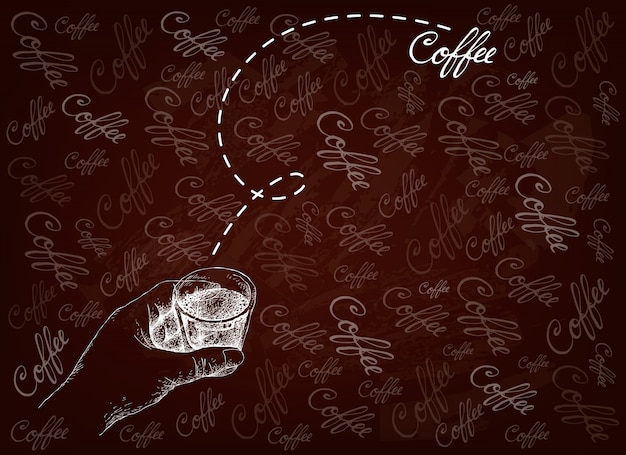 Hand gezeichnete person, die einen schuss kaffee hält