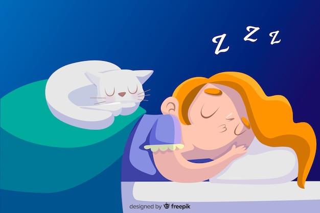 Hand gezeichnete person, die im betthintergrund schläft