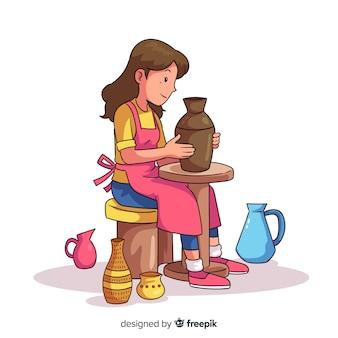 Hand gezeichnete person, die tonwaren macht