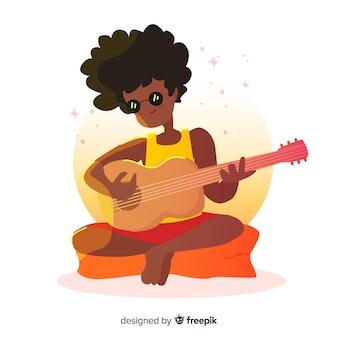 Hand gezeichnete person, welche die gitarrenillustration spielt
